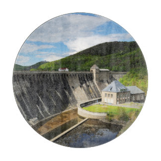 Edersee concrete dam with closed forest-hits a cutting board