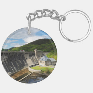 Edersee concrete dam with closed forest-hits a Double-Sided round acrylic keychain