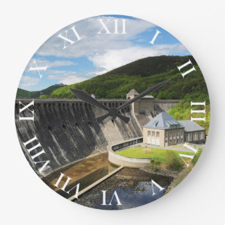 Edersee concrete dam with closed forest-hits a large clock