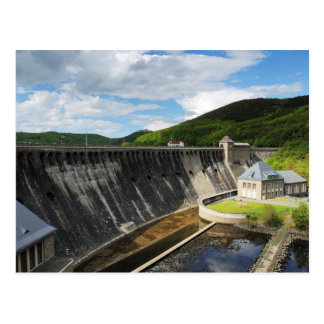 Edersee concrete dam with closed forest-hits a postcard