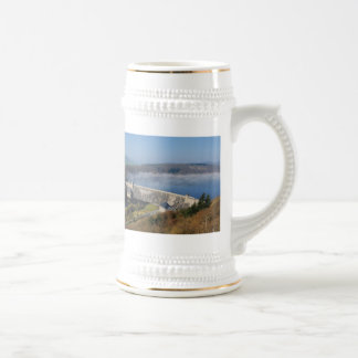 Edersee concrete dam with fog beer stein