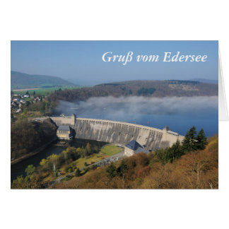 Edersee concrete dam with fog card
