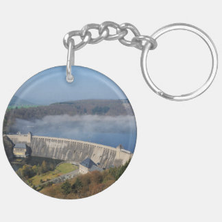 Edersee concrete dam with fog Double-Sided round acrylic keychain
