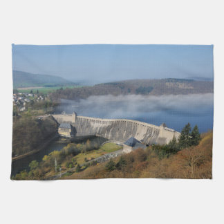 Edersee concrete dam with fog kitchen towel