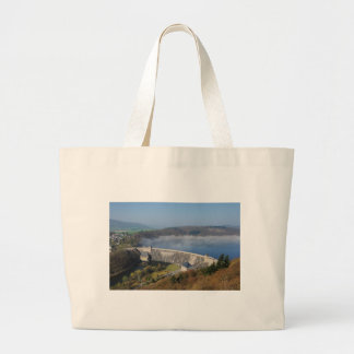 Edersee concrete dam with fog large tote bag