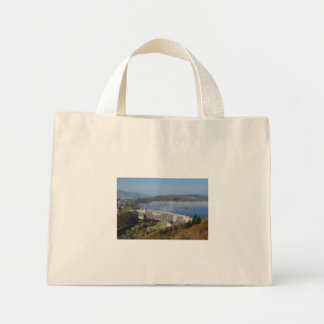 Edersee concrete dam with fog mini tote bag