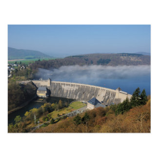 Edersee concrete dam with fog postcard