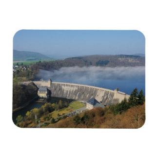 Edersee concrete dam with fog rectangular photo magnet