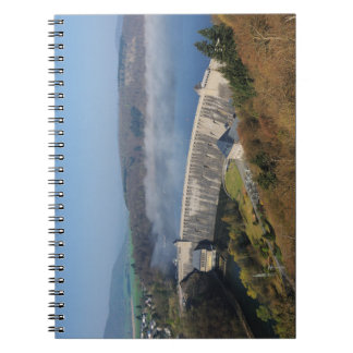 Edersee concrete dam with fog spiral notebook