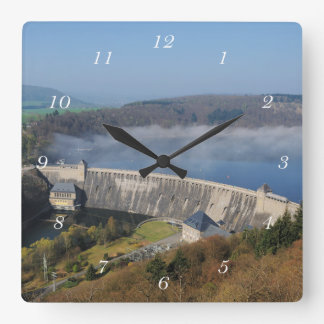 Edersee concrete dam with fog square wall clock