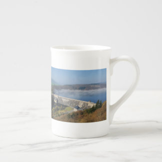 Edersee concrete dam with fog tea cup
