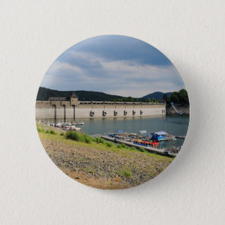 Edersee concrete dam with low water 2 inch round button