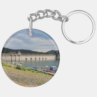 Edersee concrete dam with low water keychain
