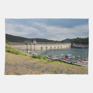 Edersee concrete dam with low water kitchen towel