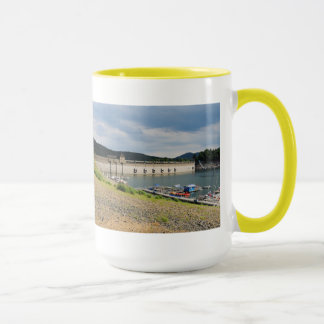 Edersee concrete dam with low water mug