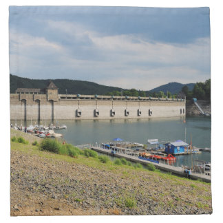 Edersee concrete dam with low water napkin