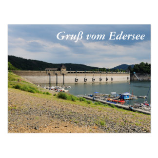 Edersee concrete dam with low water postcard
