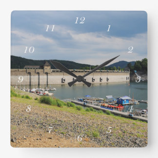 Edersee concrete dam with low water square wall clock