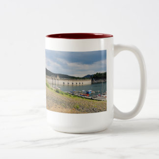 Edersee concrete dam with low water Two-Tone coffee mug