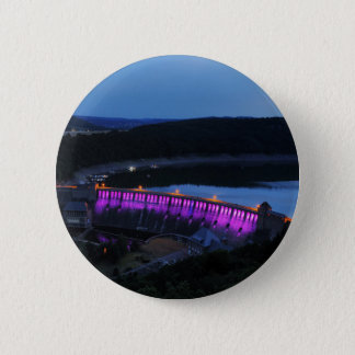 Edersee lit up concrete dam in the evening 2 inch round button