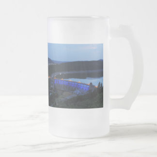 Edersee lit up concrete dam in the evening frosted glass beer mug