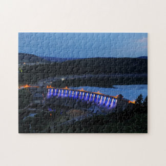 Edersee lit up concrete dam in the evening jigsaw puzzle