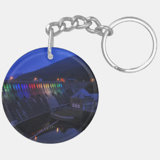 Edersee lit up concrete dam in the evening keychain