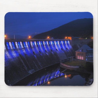 Edersee lit up concrete dam in the evening mouse pad