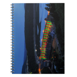 Edersee lit up concrete dam in the evening notebook