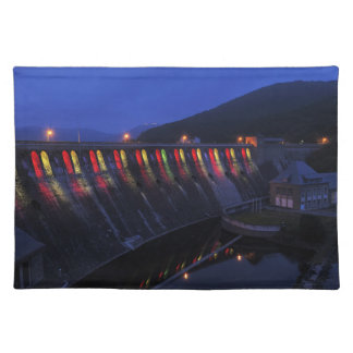 Edersee lit up concrete dam in the evening placemat
