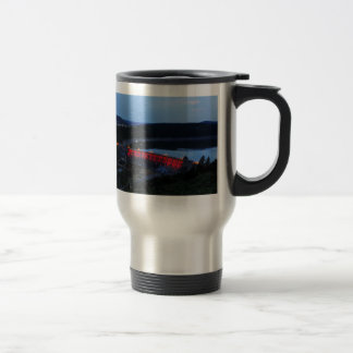 Edersee lit up concrete dam in the evening travel mug