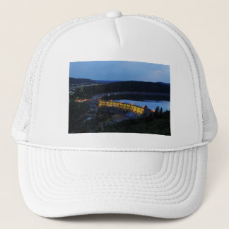 Edersee lit up concrete dam in the evening trucker hat