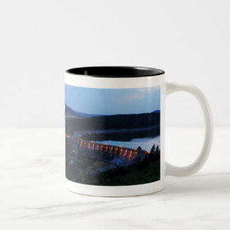 Edersee lit up concrete dam in the evening Two-Tone coffee mug