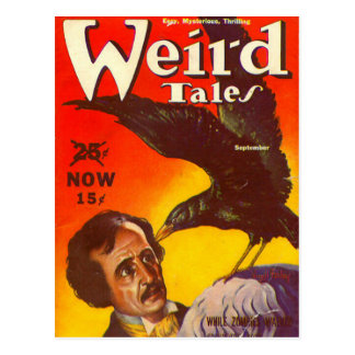 Edgar Allan Poe and Raven Pulp Magazine Cover Postcard