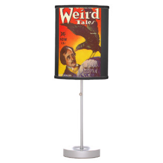 Edgar Allan Poe and Raven Pulp Magazine Cover Table Lamp