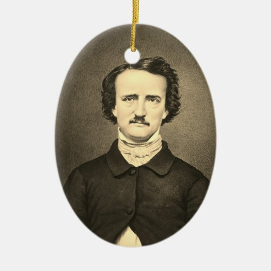 Edgar Allan Poe - Brady portrait Ceramic Oval Ornament