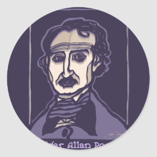 Edgar Allan Poe by FacePrints Classic Round Sticker