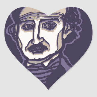 Edgar Allan Poe by FacePrints Heart Sticker
