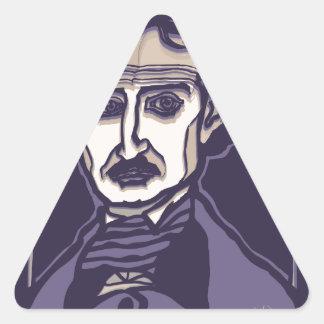Edgar Allan Poe by FacePrints Triangle Sticker