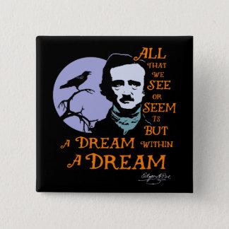 Edgar Allan Poe Dream Within A Dream Quote 2 Inch Square Button