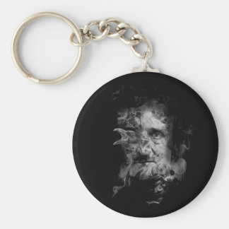 Edgar Allan Poe in Smoke with Raven Keychain