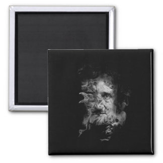 Edgar Allan Poe in Smoke with Raven Magnet