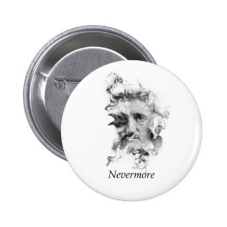 Edgar Allan Poe in Smoke with Raven - Nevermore 2 Inch Round Button
