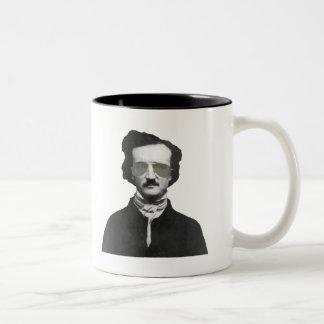 Edgar Allan Poe in Sunglasses Two-Tone Coffee Mug