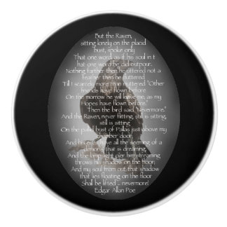 Edgar Allan Poe Poem with Watercolor Raven Art Ceramic Knob
