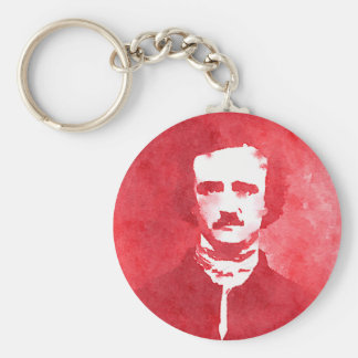 Edgar Allan Poe Pop Art Portrait in red Basic Round Button Keychain