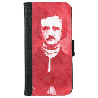 Edgar Allan Poe Pop Art Portrait in red iPhone 6 Wallet Case