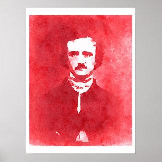 Edgar Allan Poe Pop Art Portrait in red Poster