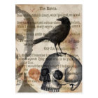 Edgar Allan Poe The Raven Skull and BIrd Postcard