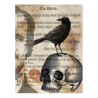 Edgar Allan Poe The Raven Skull and BIrd Postcard